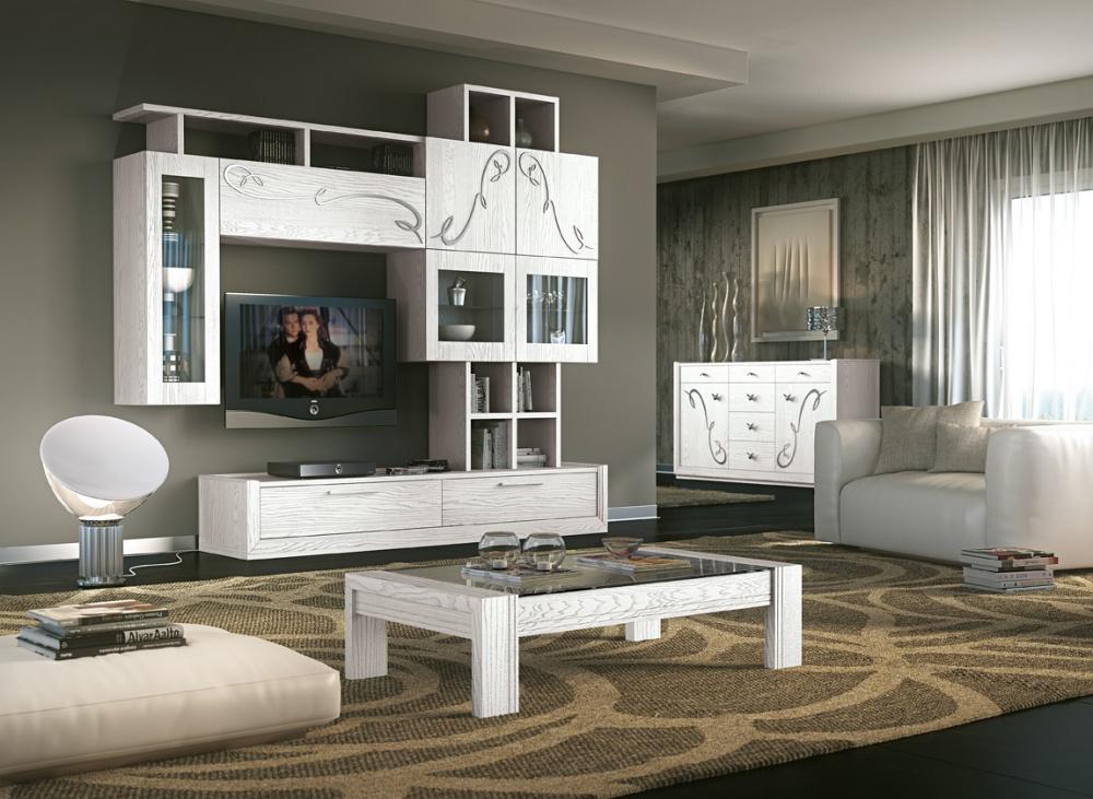 Soggiorno in legno massello di frassino in finitura bianco for Mobili salotto