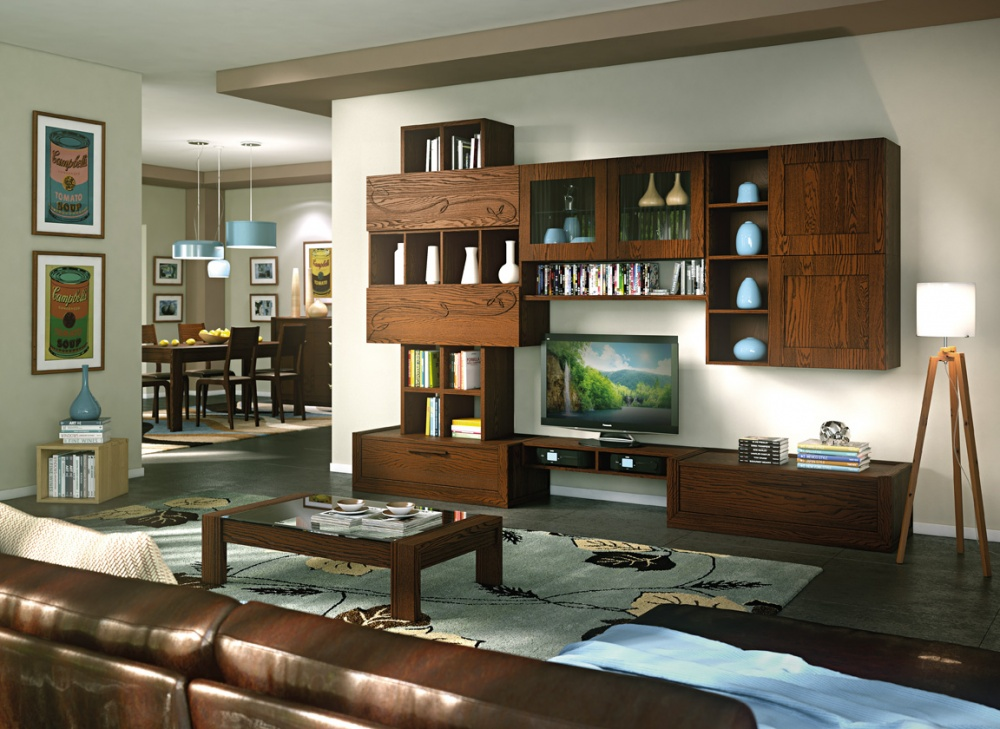 Composizione porta tv in legno massello di frassino con for Salotto con tv