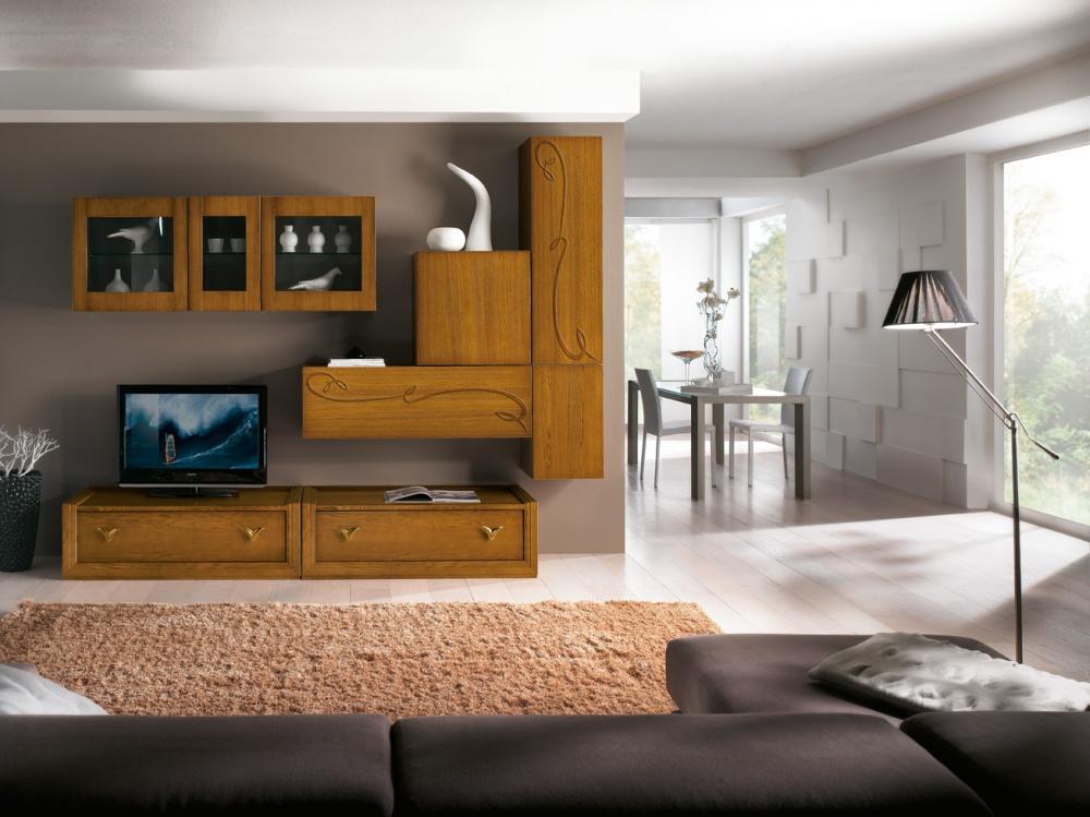 Composizione porta tv in legno massello di frassino con finitura noce chiaro a poro aperto cm - Mobili per tv in legno ...
