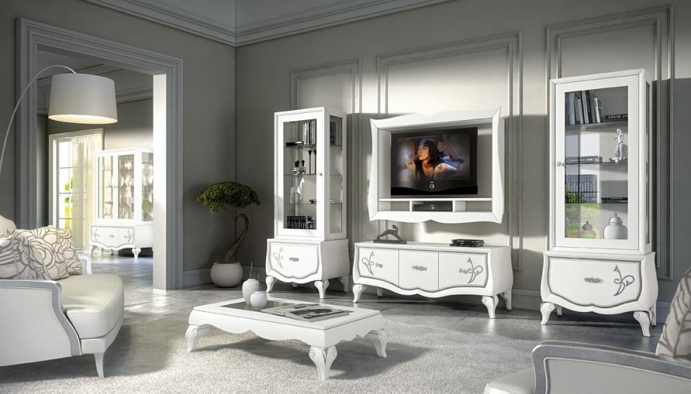 Soggiorno in legno massello di frassino finitura bianco a - Di pietro mobili ...