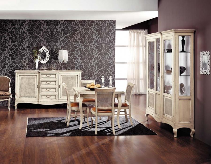 Sala da pranzo classica in legno massello laccato bianco - Credenza sala da pranzo ...