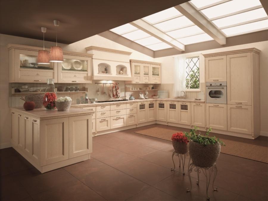 Terra cucina classica con ante in legno massello di - Cucine color panna ...