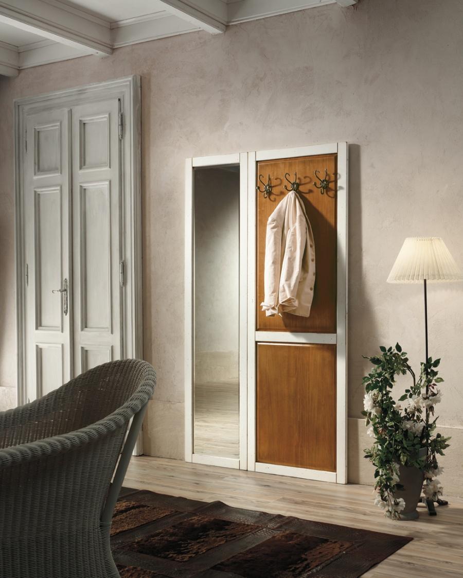 Entratina stile classico in legno massello, finitura laccato bianco con pannello in noce, cm. 120x8x200 h. - art. 181