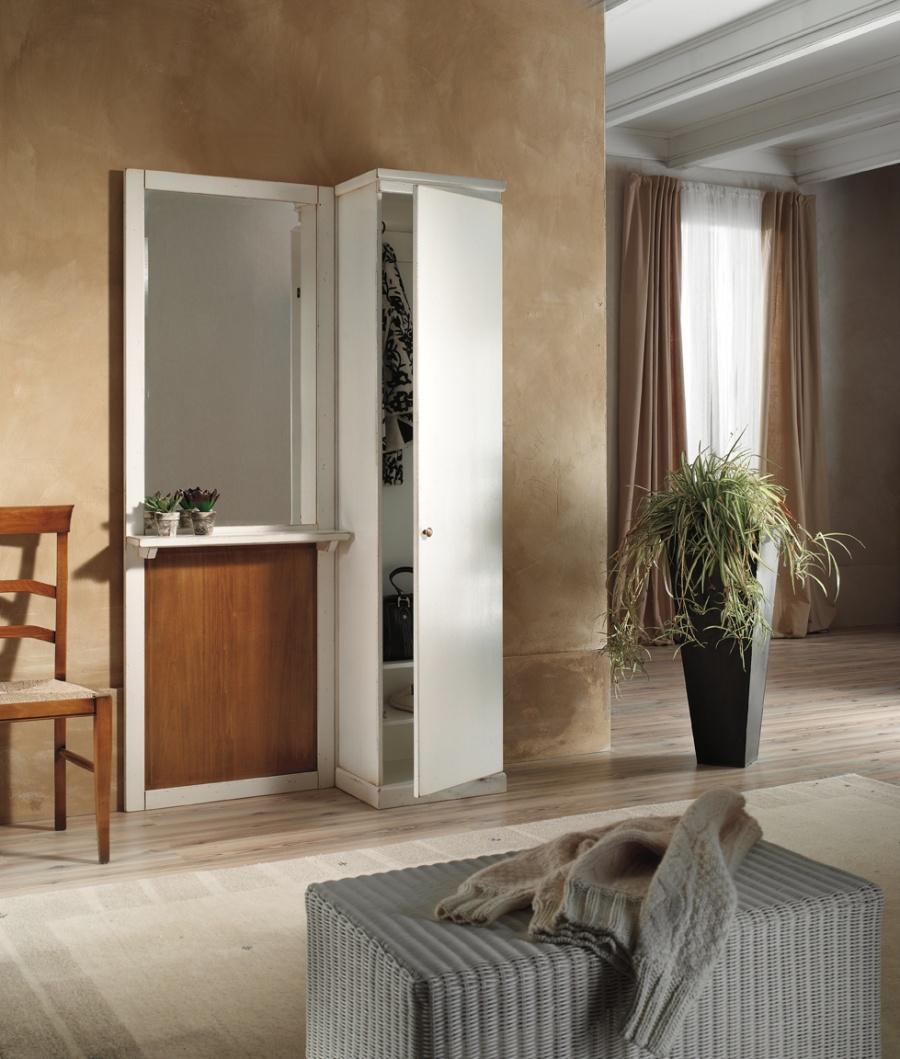 Entratina stile classico in legno massello, finitura laccato bianco con pannello noce, cm. 120x38x200 h. - art. 182