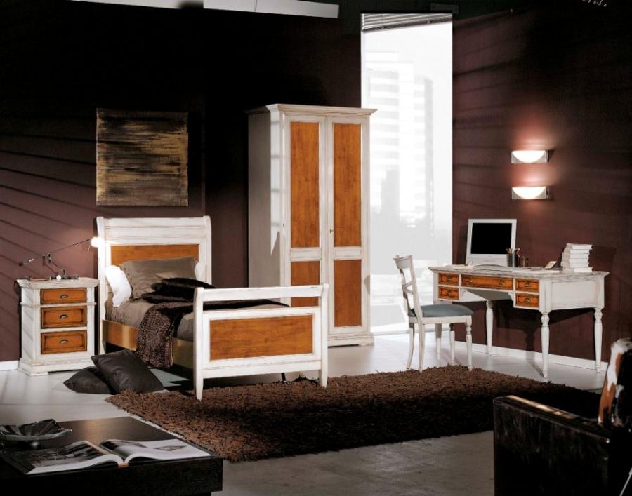 Camera da letto classica in legno massello finitura laccato bianco ...