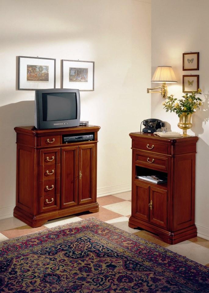 Porta tv classico in legno massello colore noce cm - Porta televisore classico ...