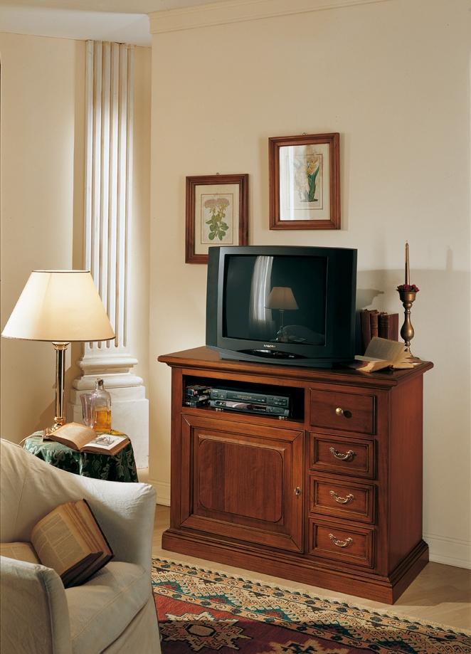 Porta tv classico in legno massello colore noce cm - Porta tv classico ...