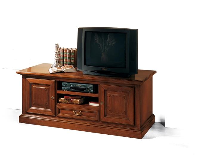 Porta tv classico in legno massello colore noce art 568 dane mobili - Mobili per tv in legno ...