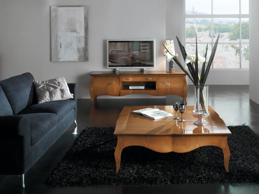 Soggiorno classico in legno massello colore noce porta - Mobile porta tv classico legno ...