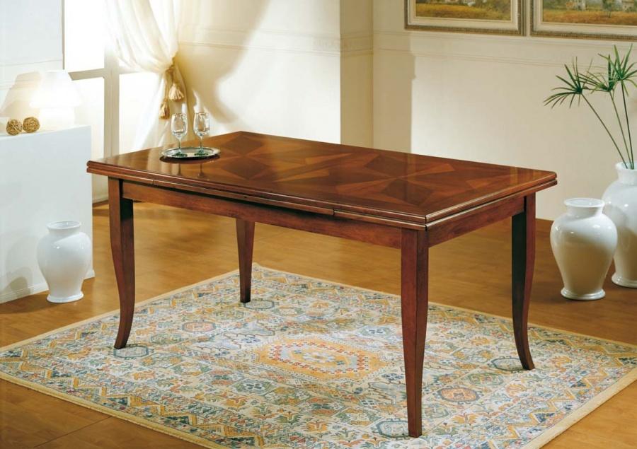 Tavolo allungabile classico in legno con piano intarsiato - Tavolo consolle allungabile stile classico ...