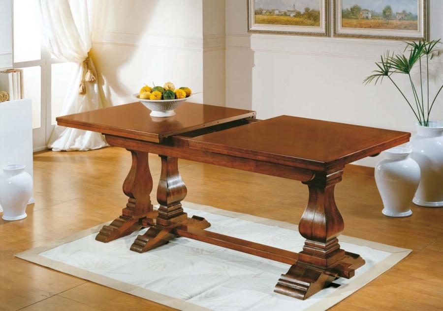 Tavolo allungabile classico in legno colore noce cm 180x90 360x90 aperto art 266 dane mobili - Tavolo allungabile classico ...