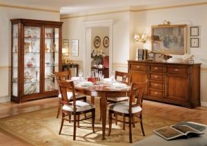 Sala da pranzo classica in legno massello colore noce for Pittura sala da pranzo