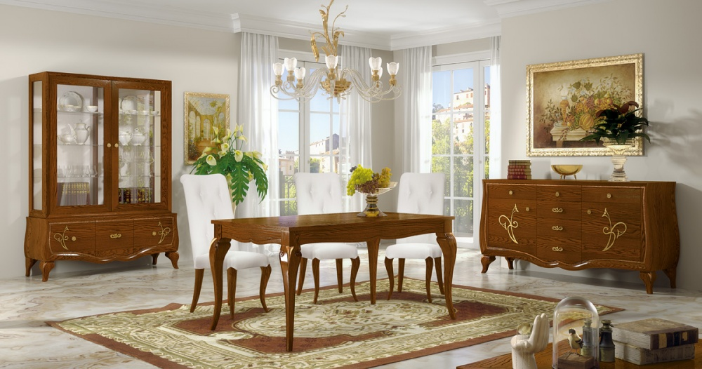 Sala da pranzo in legno massello di frassino finitura noce patinato a poro aperto e particolari - Mobili sala da pranzo classica ...