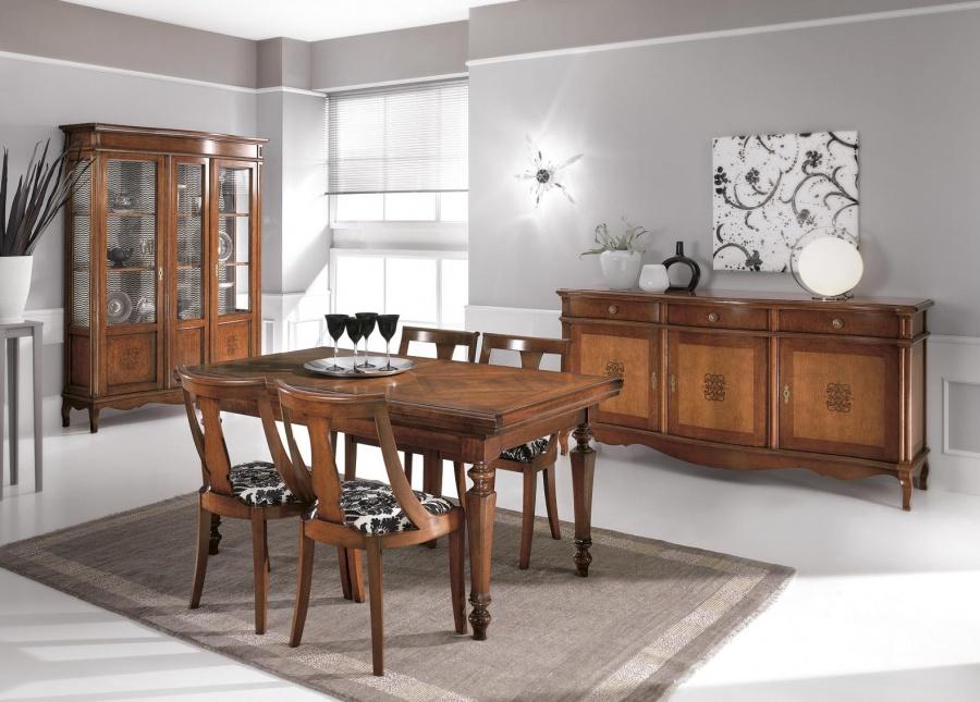 Sala da pranzo classica in legno massello con intarsio for Tavolo da pranzo classico