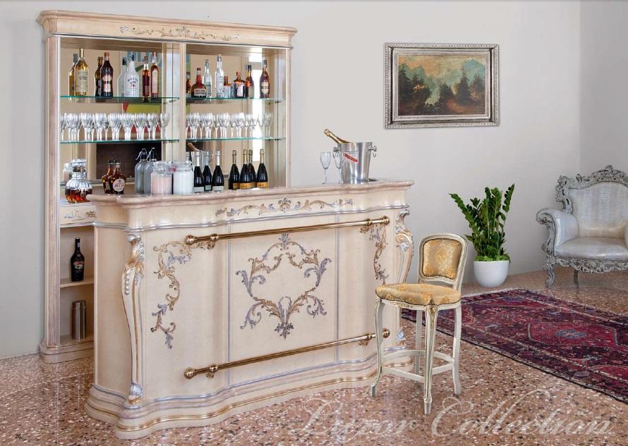 Bancone bar in stile classico con piano in marmo cm for Bancone bar per casa