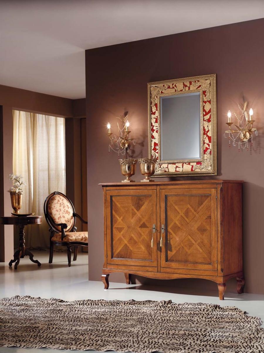 Specchiera Classica Noce Alba : Credenza classica in legno massello con intarsio colore