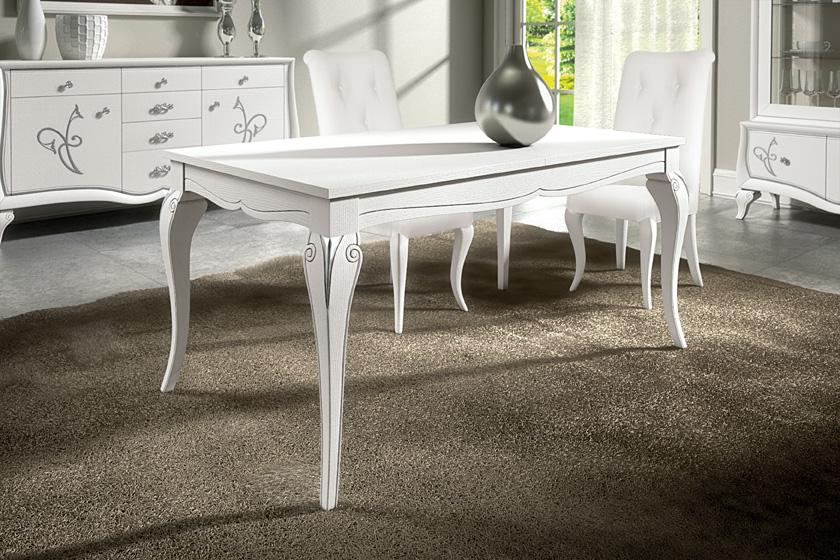 Tavolo classico allungabile in legno di frassino, cm. 162x90 (aperto 242x90), art. 943. Sedia ...