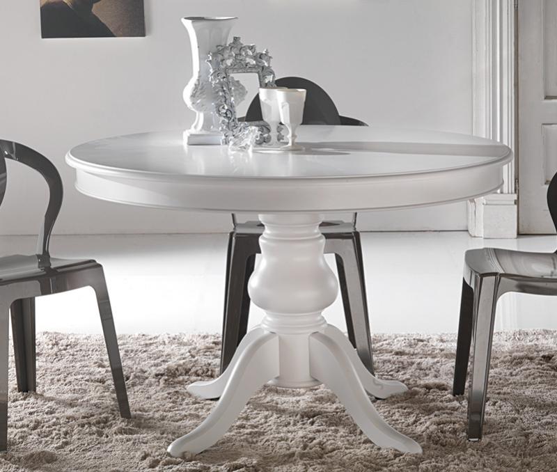Tavolo rotondo classico in legno laccato bianco con gambone centrale Ø 120 cm., allungabile a 160 cm. - art. 707/B. Disponibile nelle misure Ø 110 cm, 120 cm. con allunga centrale da 40 cm. o fisso.