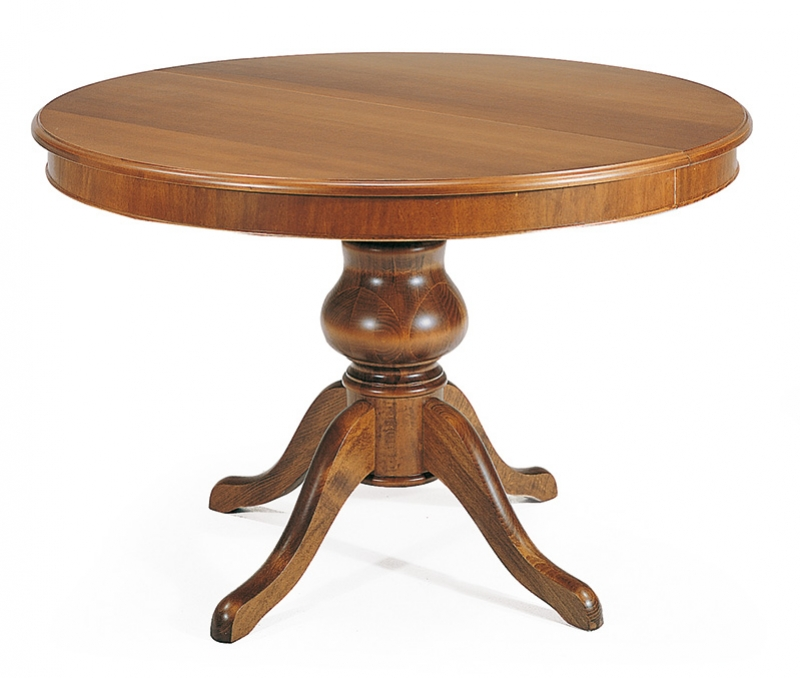 Tavolo rotondo classico in legno colore noce con gambone centrale 120 cm allungabile a 160 cm - Tavolo rotondo con piede centrale ...