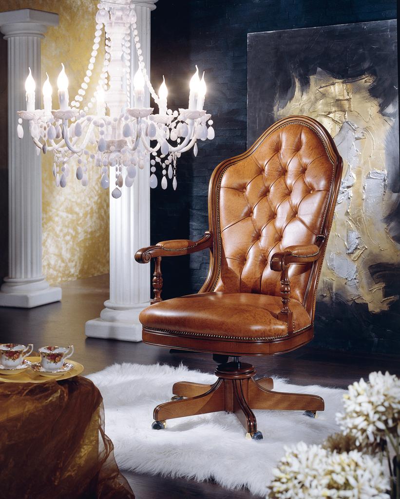 Poltrona da ufficio girevole modello President imbottita in vera pelle, regolabile in altezza e reclinabile - art. 454