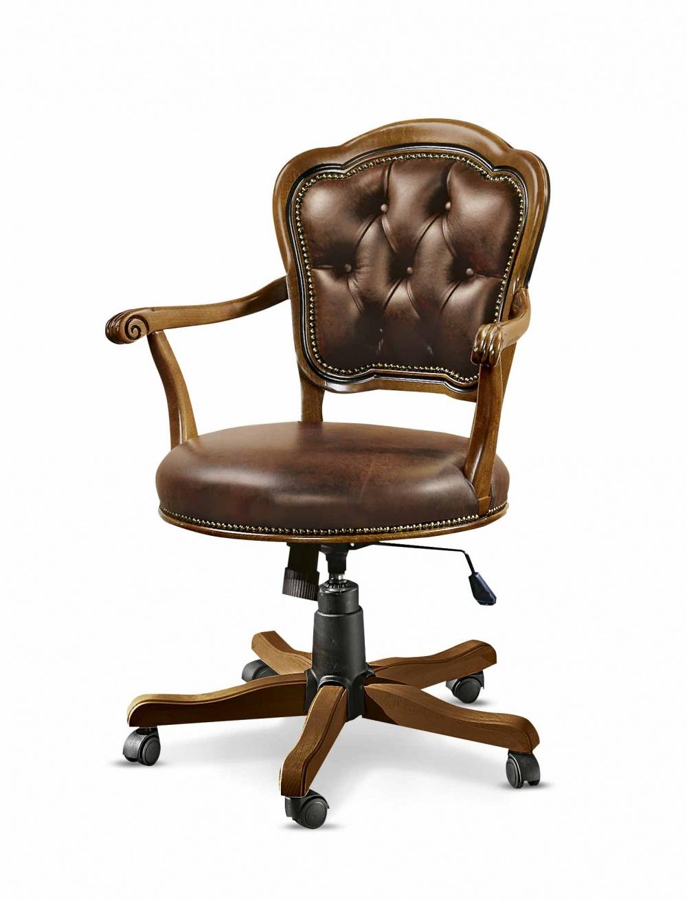 Poltrona girevole da ufficio in legno massello di faggio con imbottitura in vera pelle, regolabile in altezza e reclinabile - art. 453