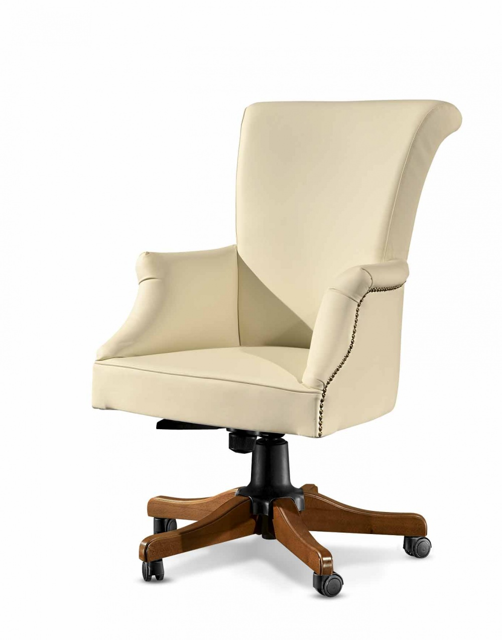 Poltrona girevole da ufficio imbottita interamente in vera pelle, regolabile in altezza e reclinabile - art. 458