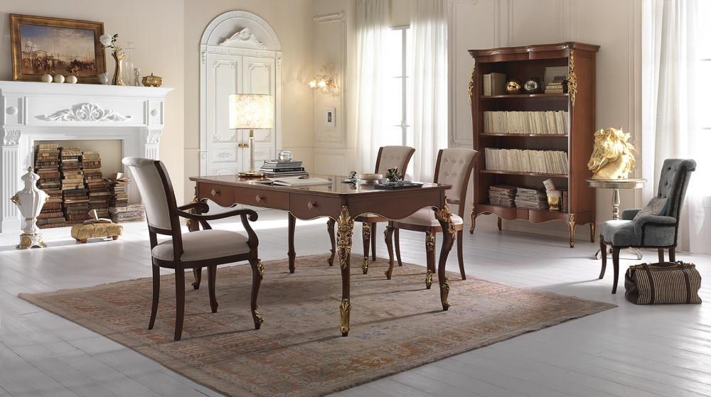 Studio stile classico in legno massello colore noce con dettagli in ...