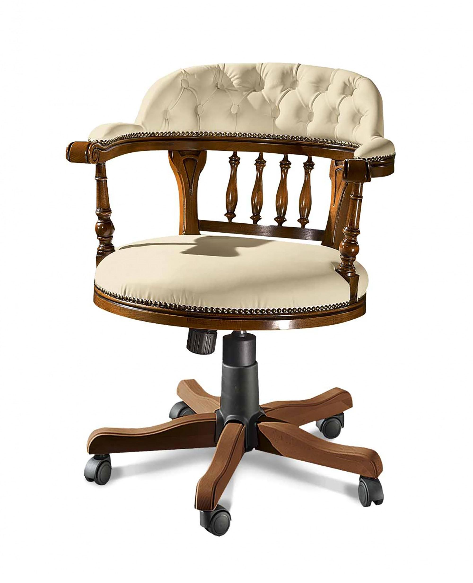 Poltrona girevole da ufficio in legno massello resa comoda e funzionale grazie alla regolazione in altezza della seduta