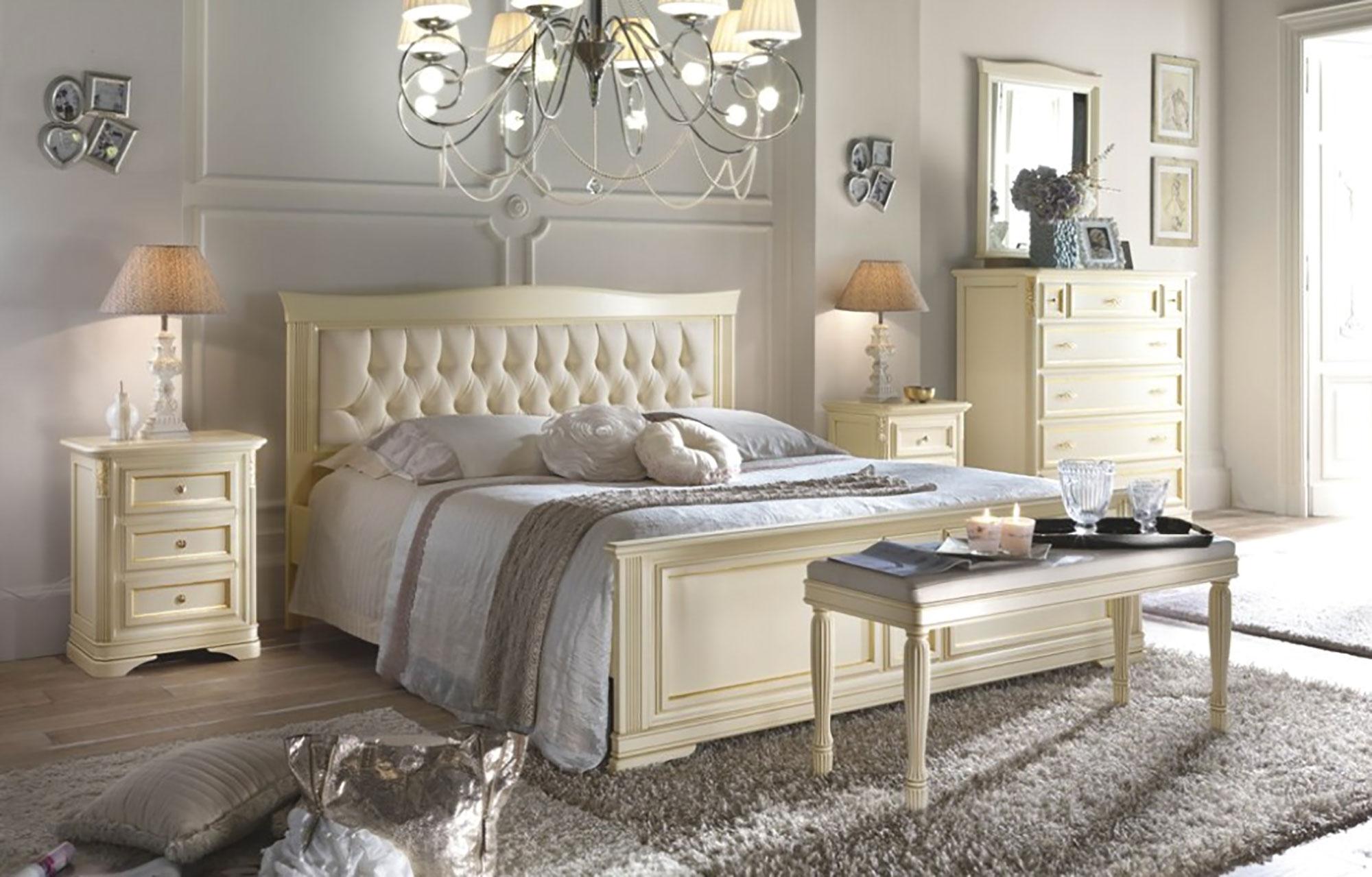 Elegante camera da letto matrimoniale in finitura laccato avorio
