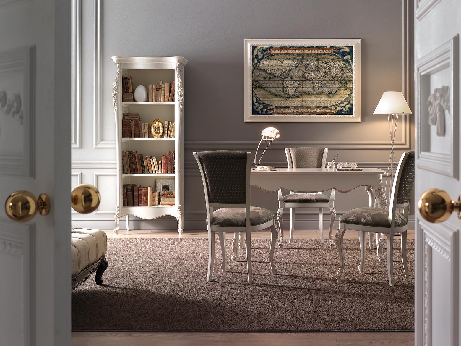Libreria a giorno, art. 020 - Scrittoio, art. 021 - Sedia, art. 004R - Capotavola, art. 005R. Finitura laccata con lavorazione consumata.